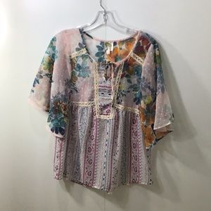 Anthropologie Fig and Flower sheer blouse M